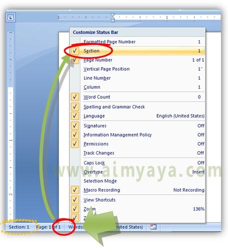 Gambar: Cara menampilkan atau menyembunyikan nomor section di status bar microsoft word