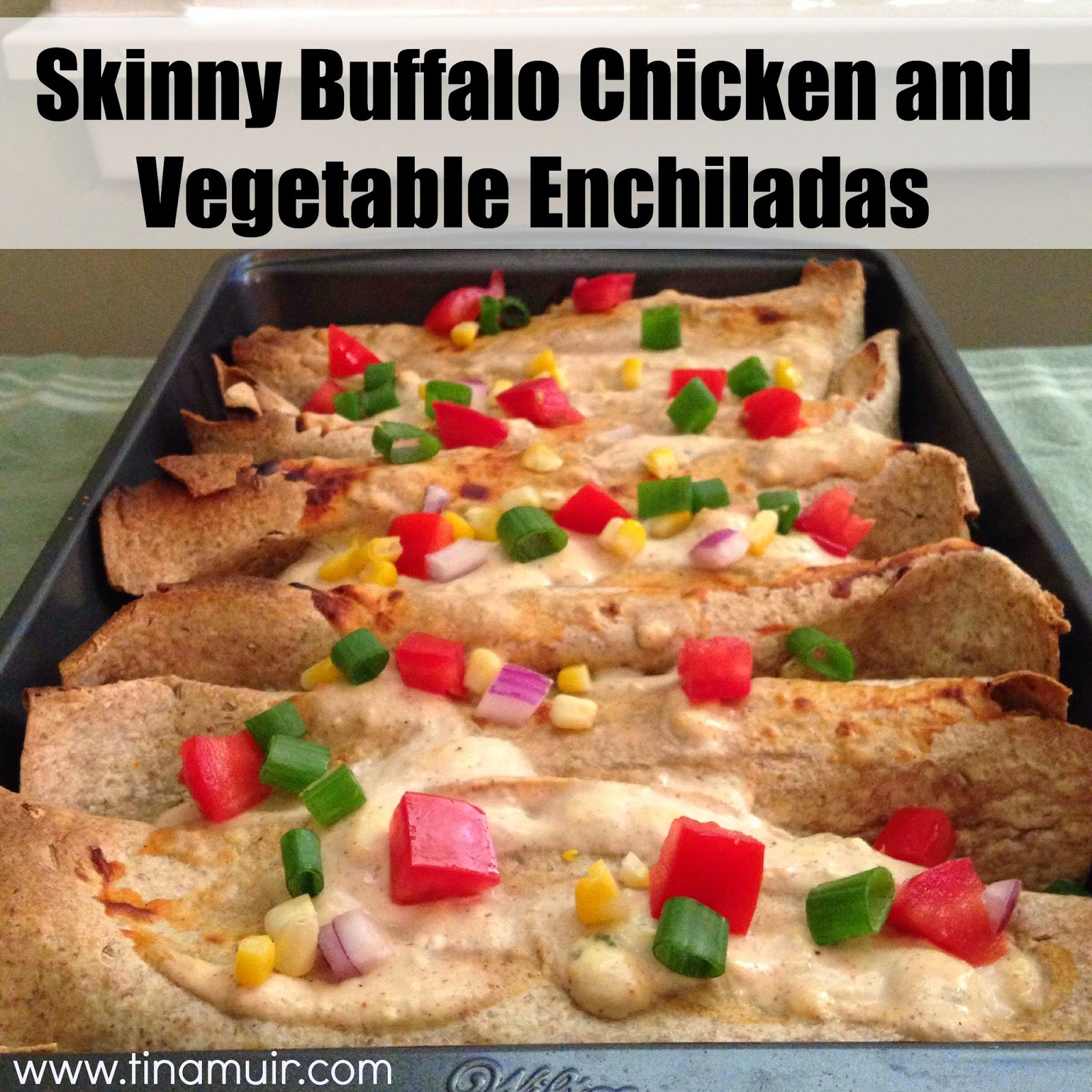 These Skinny Buffalo Chicken and Vegetable Enchiladas by www.tinamuir.com are wonderful to enjoy this American classic without all the calories or fat of deep fried chicken wings.