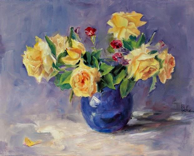Les peintures d 39 evhe bouquet de roses jaunes for Bouquet de fleurs jaunes