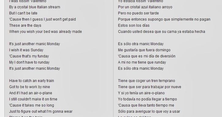 Manic monday lyrics