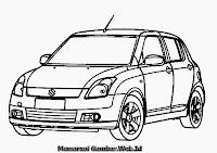 Gambar Mewarnai Mobil Suzuki Swift