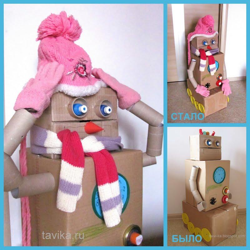 снеговик из картонных коробок - детская поделка