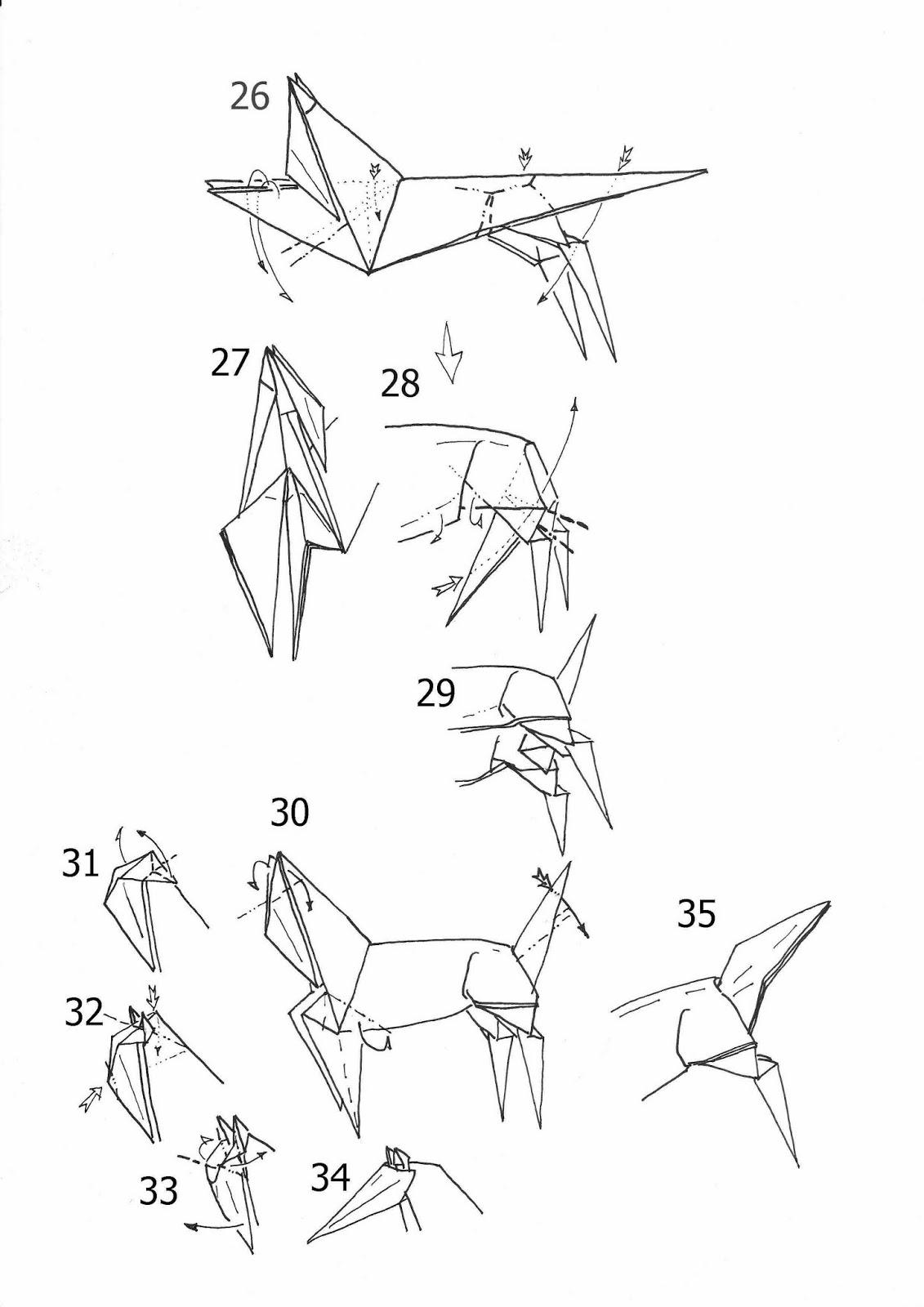 3d horse origami diagram