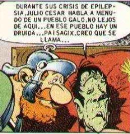 viñeta Asterix en Helvecia, enfermo y guardian