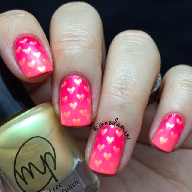 julie g m polish neon gradient valentines day hearts nails