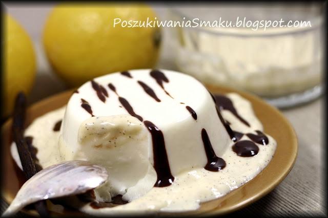 Cytrynowa panna cotta z sosem waniliowym i gorzką czekoladą