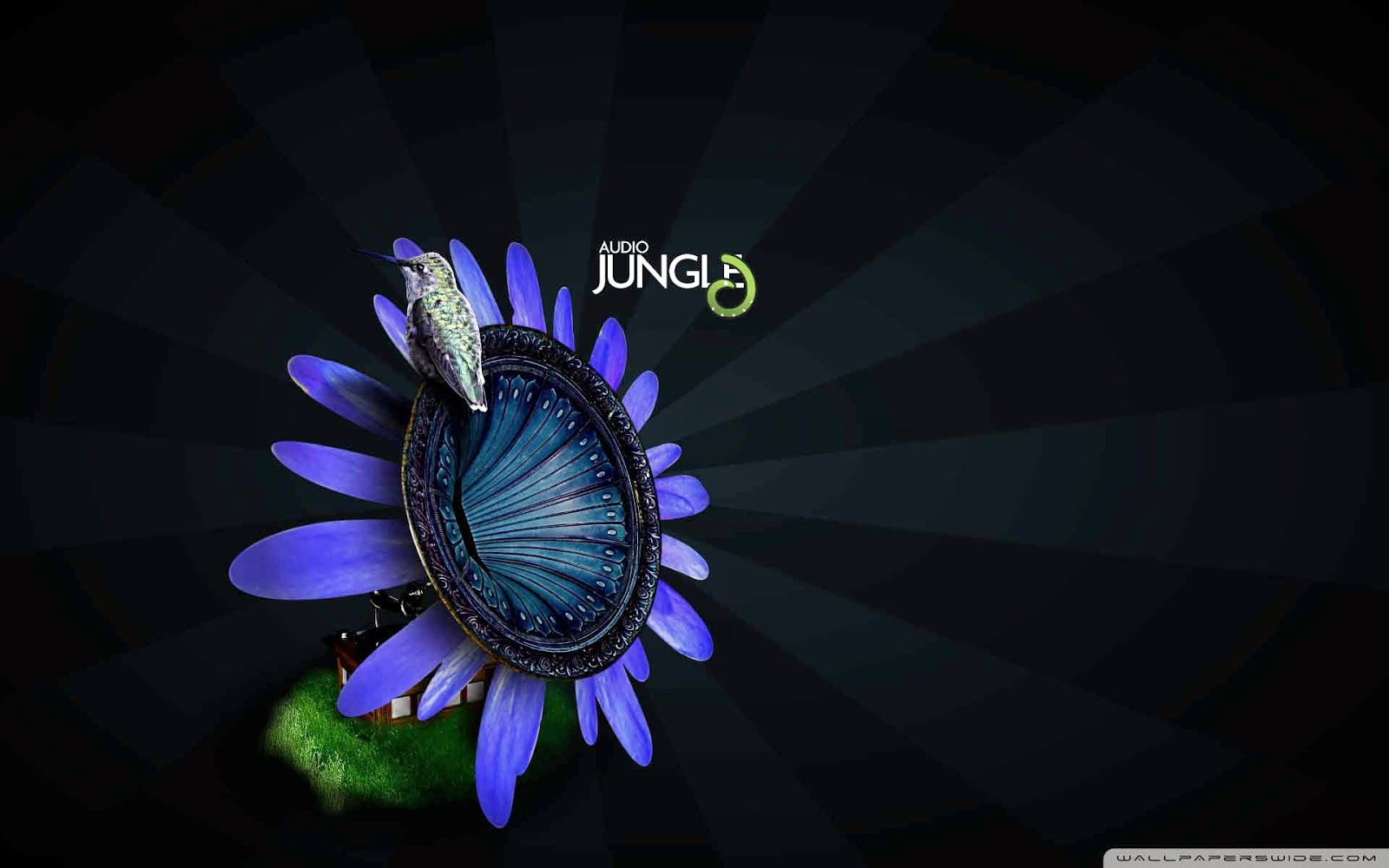 bird on flower gramophone audio jungle wallpaper