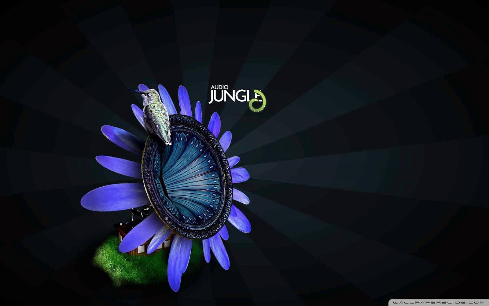 bird on flower gramophone audio jungle wallpaper