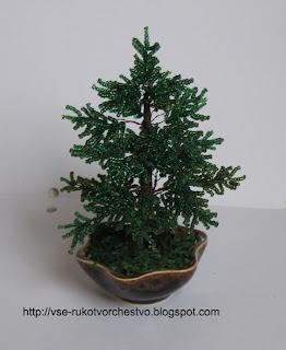 Дерево елка из бисера. Мастер-класс с пошаговым фото