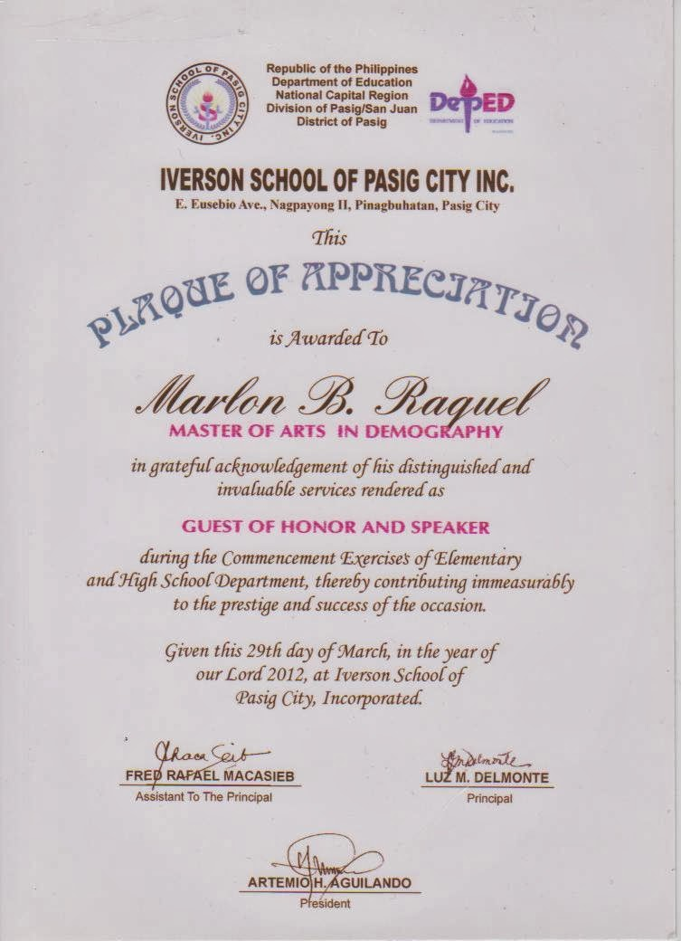 wordings on plaque of recognition for guest speakers