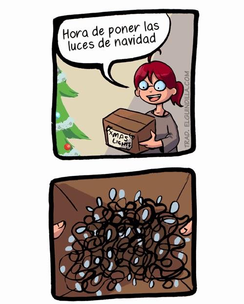 luces navidad - viñeta de humor