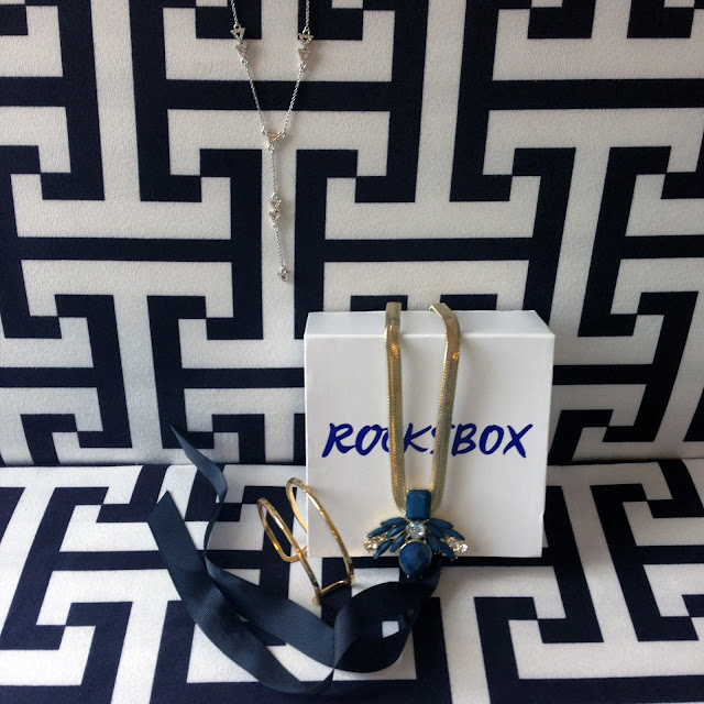 unboxing, subscription box, Rocksbox, House of Harlow, Perry Street, Gorjana, gold cuff, art deco, jewelry, necklace, statement necklace