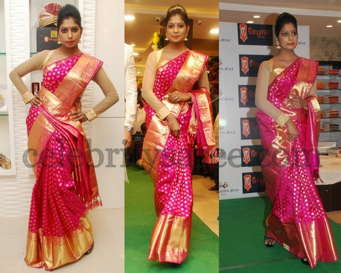 Mounika Reddy Pink Silk Saree