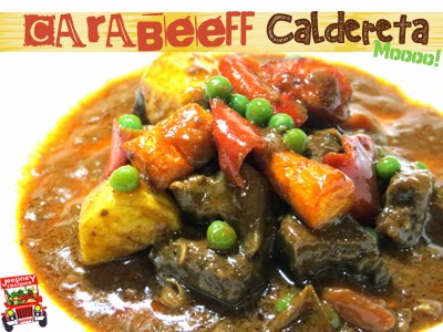 A plate of spicy Carabeef Caldereta (Carabao Beef)