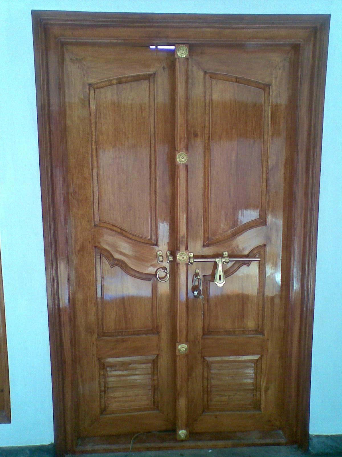 Bavas wood works wood exterior double door main for Double door wooden door