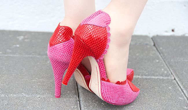 sara melissa, handmade shoes, heart high heels