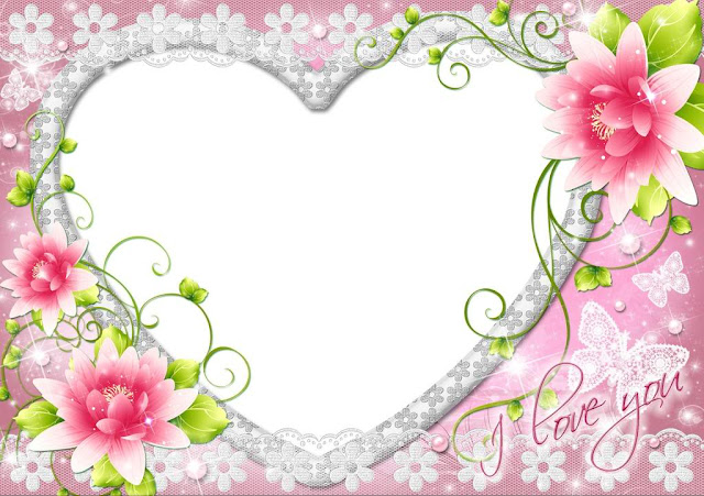 heart shaped i love you frame in pink for pictures images or photoshop