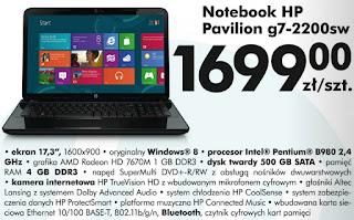 Notebook HP Pavilion g7-2200sw Biedronka ulotka