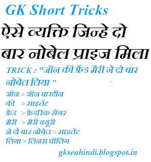 Two times nobel prize winners GK short tricks Hindi