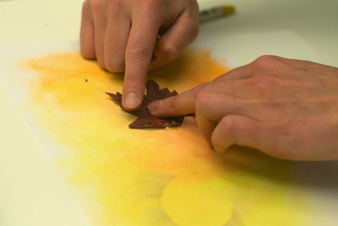 working with leaves and soft chalk