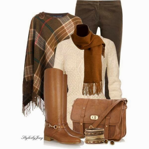 Brown scarf, jeans, long boots and handbag combination for fall
