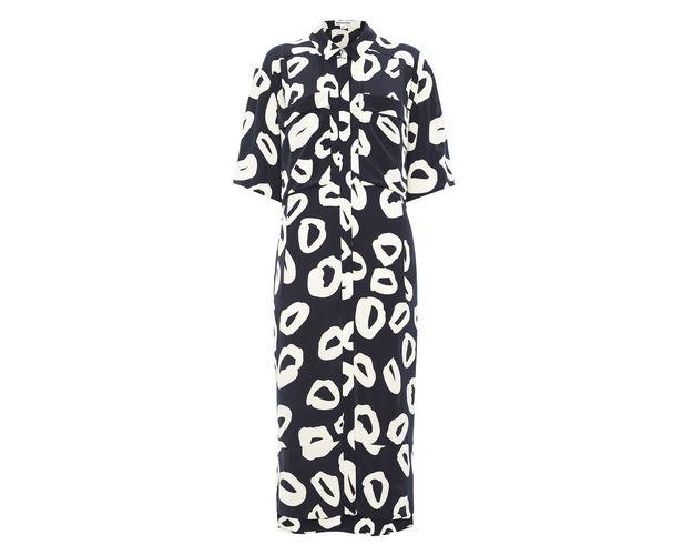 black white circle dress, whistles black white midi dress,