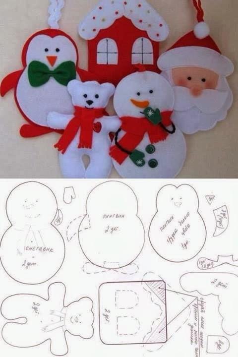 Baño Infantil Corona:Felt Christmas Ornament Templates