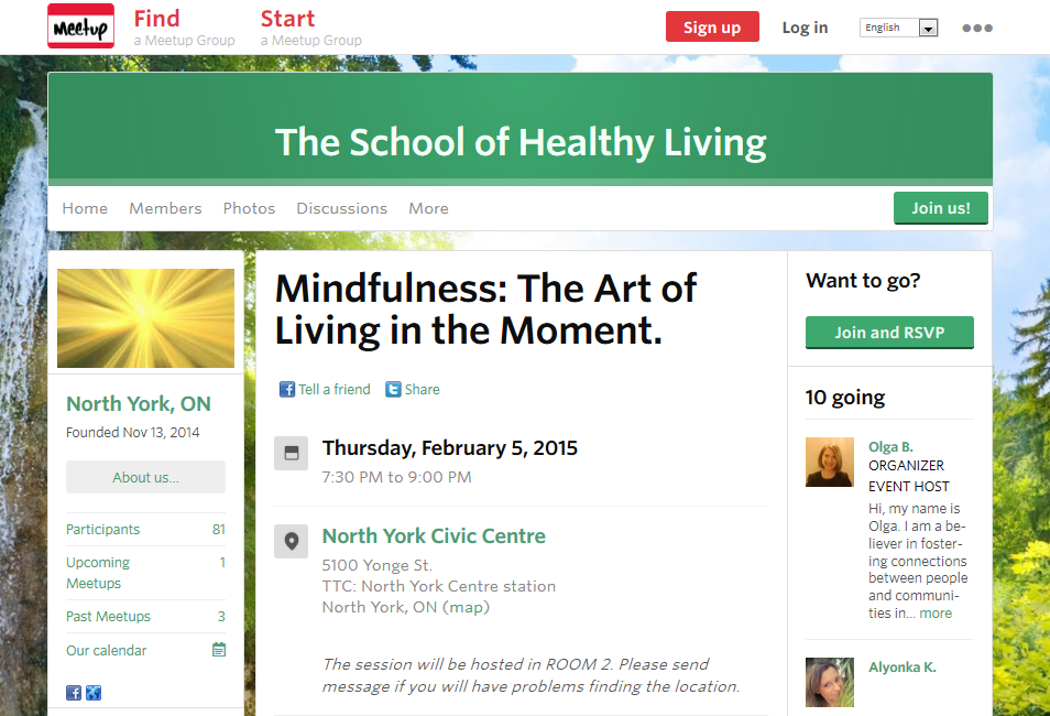 Mindfulness: The Art of Living in the Moment: February 5, 2015, MeetUp