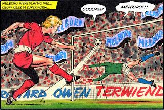 Geoff Giles scores for Melboro' in the 1982/83 season
