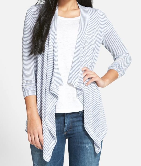 Summer Fashion - Bobeau Drape Front Stripe Cardigan