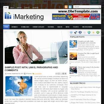 iMarketing blog template. template image slider blog. magazine blogger template style. wordpress theme to blogger