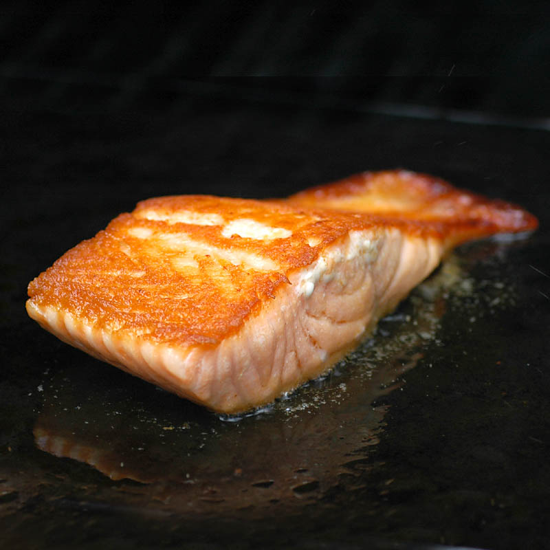 Crispy Grilled Salmon on Cast Iron