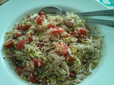 insalatina di quinoa, germogli e pollo (o seitan)
