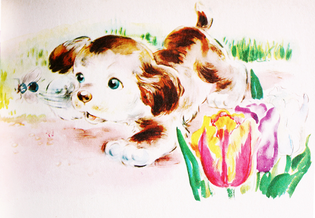 vintage dog illustration with tulips
