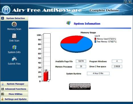 برنامج Airy Free AntiSpyware لمسح ملفات التجسس