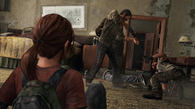 Joel threatens a man with a shotgun as Ellie watches