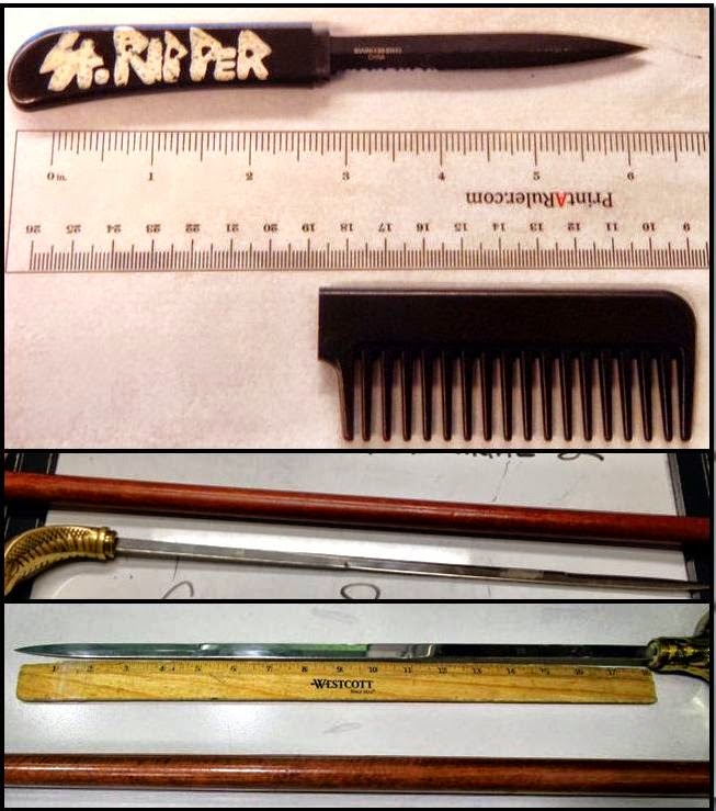 From the top: Comb Knife (RIC), Sword Cane (RDU), Sword Cane (MSP)