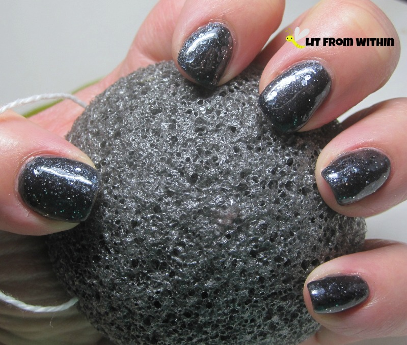 This nail art is inspired by the grey, porous surface of the Milagrous Beauty Charcoal Konjac Sponge