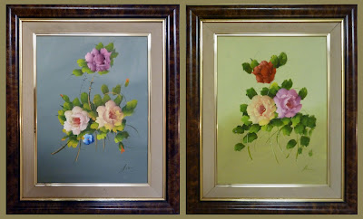 Pareja de oleos con flores pintadas