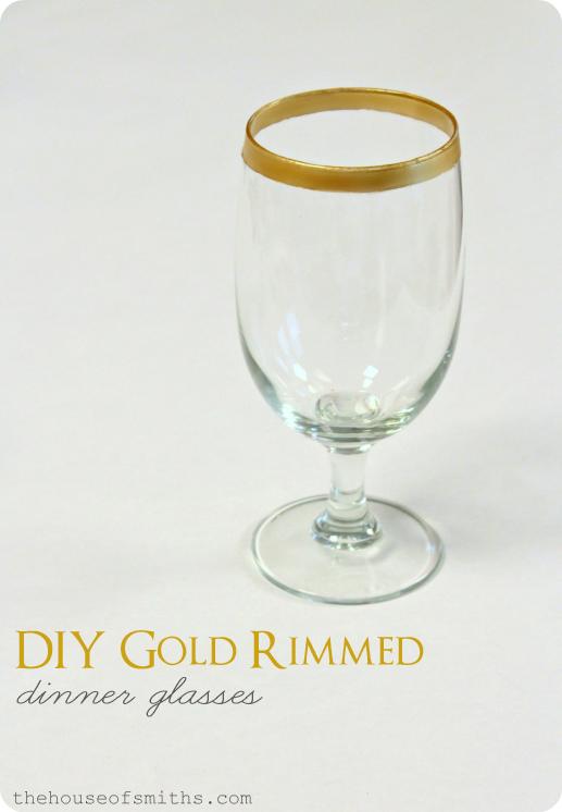 Diy Gold Rimmed Dinner Glasses Amp Striped Napkin Rings