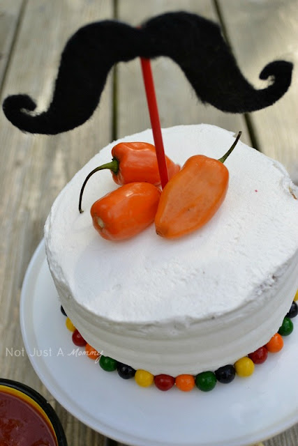1 cake 3 ways Cinco De Mayo cake peppers mustache