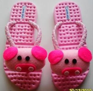Sandal Boneka Flanel Babi Pink