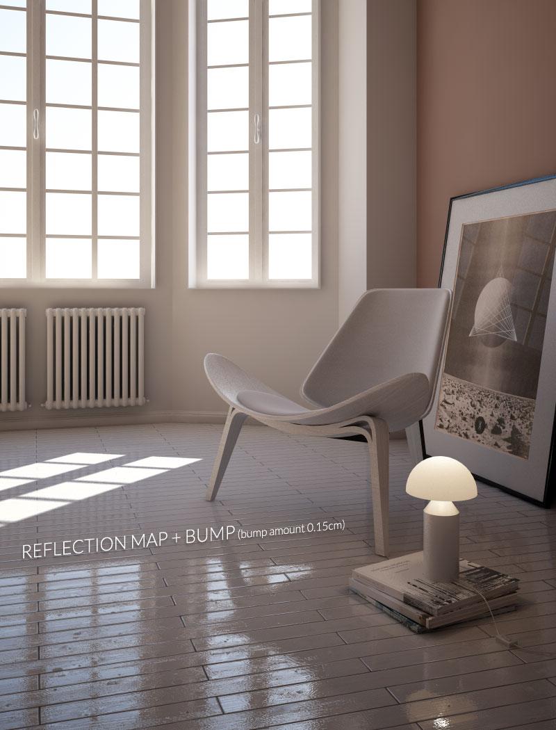 riflessione legno con bump cinema4D vray