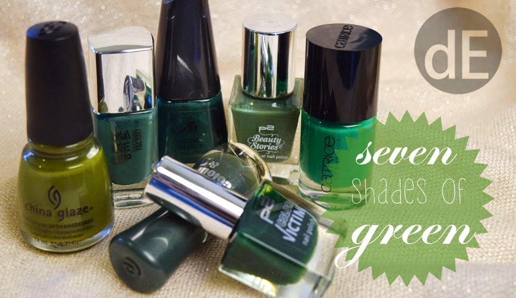 seven shades of green gr ner nagellack die edelfabrik. Black Bedroom Furniture Sets. Home Design Ideas