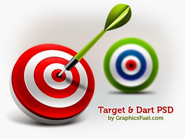 3D Target & Dart Icons PSD