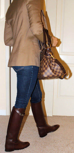 Petite blogger in luxe equestrian style