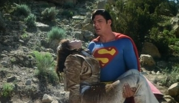 Margot Kidder as Lois Lane and Christopher Reeve as Superman in SUPERMAN: THE MOVIE (1978)