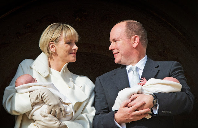 Princess Charlene of Monaco pose with Prince Jacques and Princess Gabriella