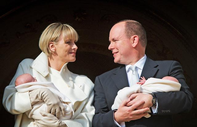 Princess Charlene of Monaco pose with Prince Jacques and Princess Gabriella