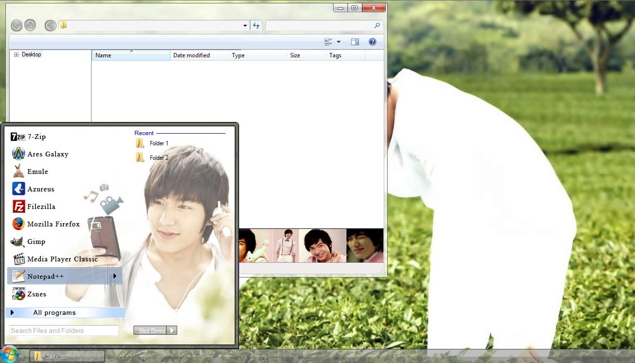 Google themes lee min ho - Lee Min Ho Windows 7 Theme Download Link 6 8 Mb Preview